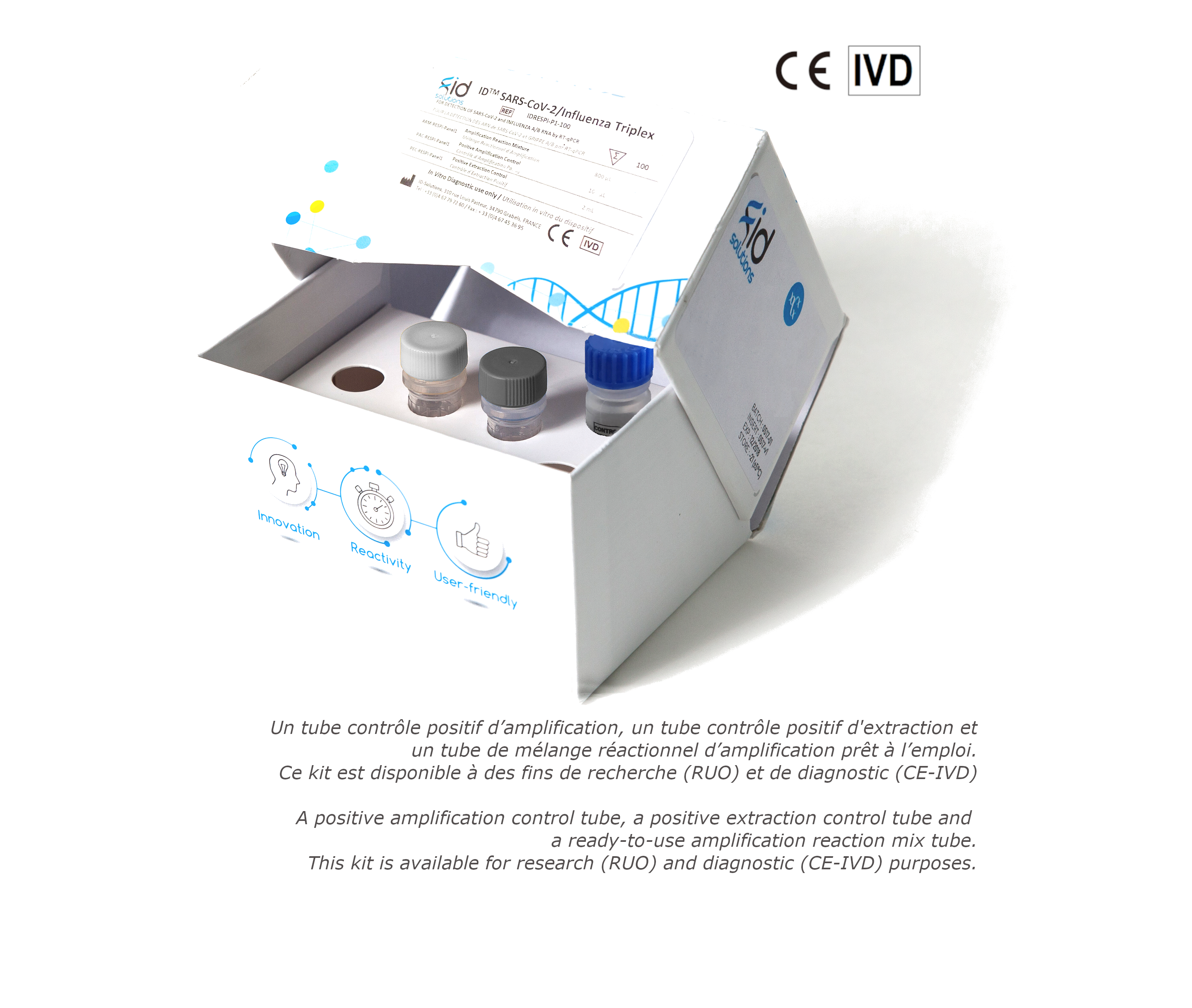 Detection Kit - ID ™ SARS-Cov2 / Influenza RT-PCR Triplex - COVID - FLU